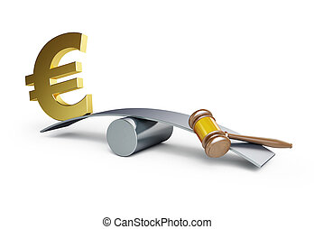 Justice or money on a white background