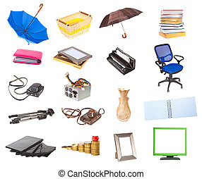 Set Household Objects on a white background