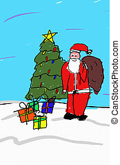 Santa Drawing - A child like drawing of santa in front of a...