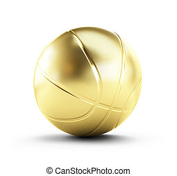 gold basketball ball on a white background