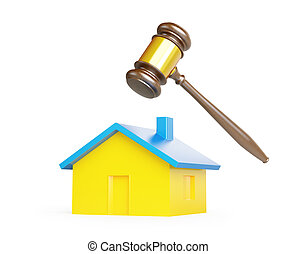 confiscation of homes, seizure on a white background