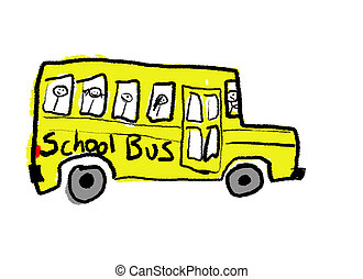 School Bus - A childlike drawing of a school bus full of...
