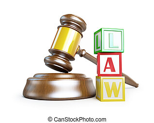 gavel law on a white background