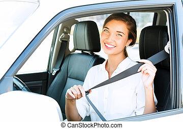 mujer,  fastens, joven, asiento, atractivo, coche, cinturón