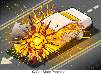 Isometric White Car in Explosion - Detailed illustration of...
