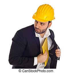 Businessman with bribe - Businessman with construction...