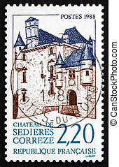 Postage stamp France 1988 Chateau Sedieres, Correze - FRANCE...