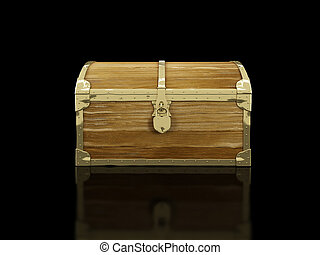 old chest on a black background