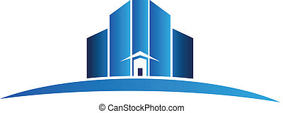 Building apartments logo vector - Real estate blue buildings...