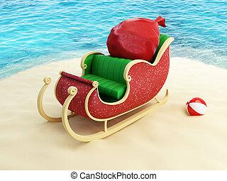 sleigh of Santa Claus on the beach