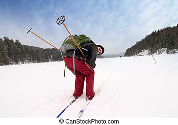 Wanting Speed - A cross country skiier pretending to be...