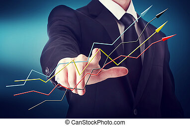 Businessman with Rising Arrows - Businessman with arrows...