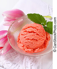 Ice cream and fresh tulips - Scoops of pink ice cream and...
