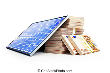 solar panel euro on a white background