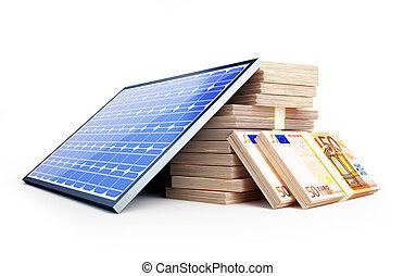 solar panel euro on a white background