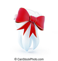 tooth gift red bow - red bow tooth gift on a white...
