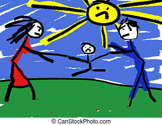 Divorce - A childlike drawing illustrating divorce with the...