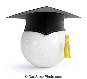 volleyball ball graduation cap on a white background