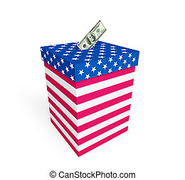price of vote in elections in the US on a white background...