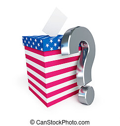 usa vote question mark on a white background