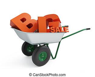 grande, venda, carrinho de mão