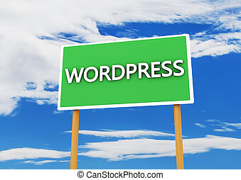 Wordpress sing - 3d wordpress sign in green on sky...