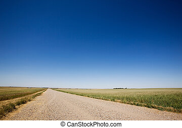 Prairie Gravel Road - A prairie gavel road stretching off...