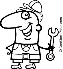 worker cartoon coloring page - Black and White Cartoon...