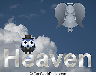 Heaven - Representation of heaven with bird vicar against a...