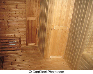 interior in russian bath-house - image of wooden interior in...