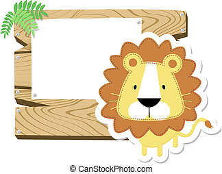 baby lion sign board - illustration of cute baby lion with...