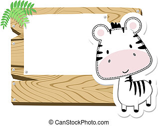 baby zebra sign board - illustration of cute baby zebra with...