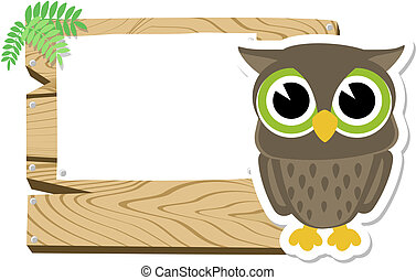 baby owl sign board - illustration of cute baby owl with...