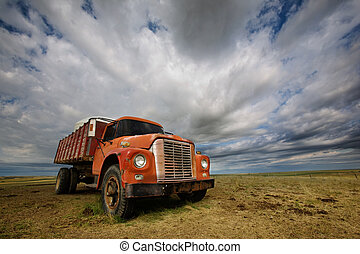 Old Farmtruck - An old farm truck against a dramatic prairie...