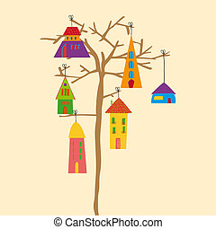 Tree little town - Multicolored transparent town in a tree....