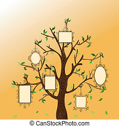 Vintage memories tree - Retro concept family tree with...