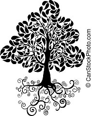 Black tree symbol - Bug tree icon with curly roots and...