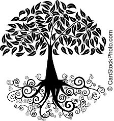 Big tree silhouette - Black Tree curly roots silhouette...