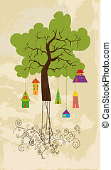 Cute colorful tree bird house - Color tree family bird house...