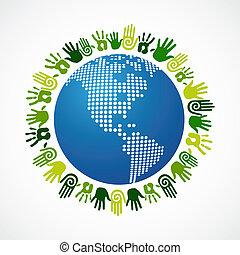 Go green diversity human hand American map - Go green human...