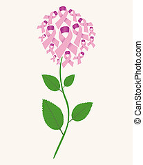 Brest cancer concept flower - Pink breast cancer ribbon...