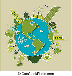 Green concept Earth - Go green concept world. Industry...