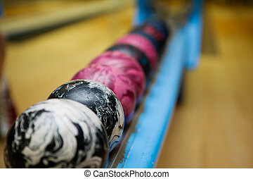 Bowling Ball Detail - A close up detail image of a set of 5...