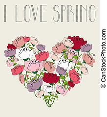 I love spring flower heart background