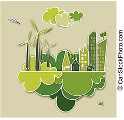 Go green concept city - Ecologic town, sustainable energy...