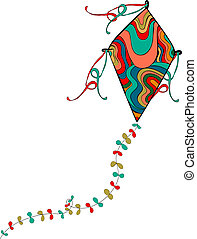 Colorful kite - Isolated vibrant colors flying kite. Vector...