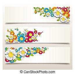 Spring flower banner - Colorful spring flowers banner...