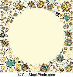 Spring vintage flower circle card background - Color hand...