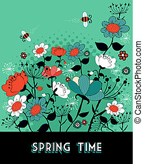 Spring time garden background - Vintage composition, flower...