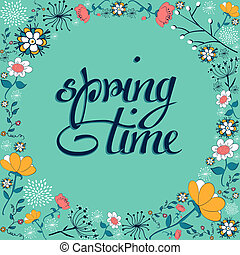Spring time vintage flower background - Hand draw vintage...